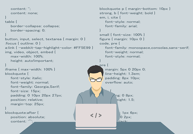 programátor pracující na internetových stránkách